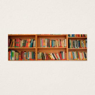 Books on Bookshelf Background Mini Business Card