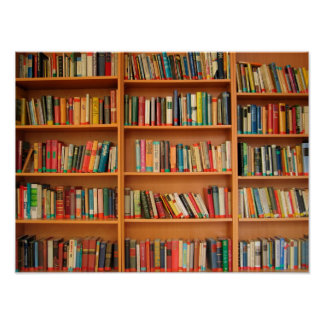 Books on Bookshelf Background Posters