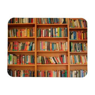 Books on Bookshelf Background Rectangular Photo Magnet