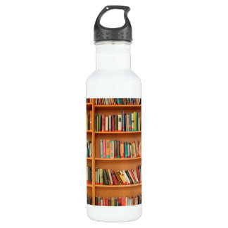 Books on Bookshelf Background Stainless Steel Water Bottle