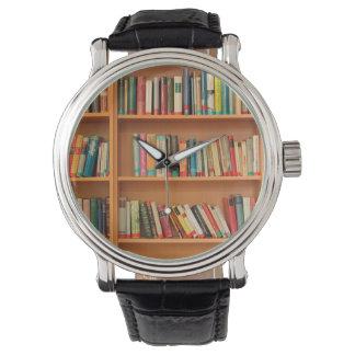 Books on Bookshelf Background Wrist Watch