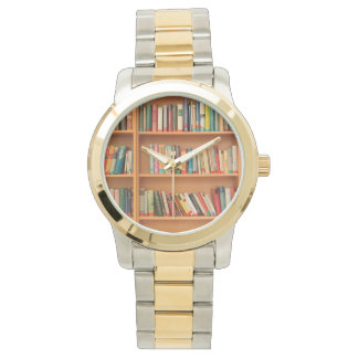 Books on Bookshelf Background Wristwatch