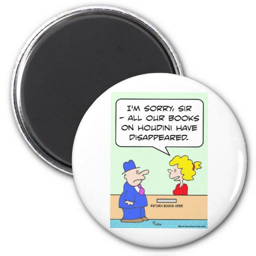 books on houdini library librarian 2 inch round magnet