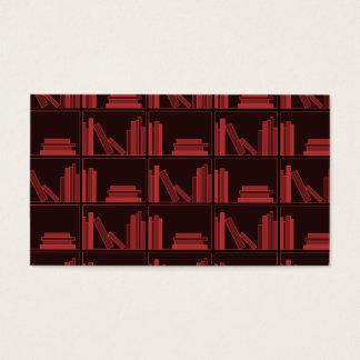 Books on Shelf. Dark Red. Business Card
