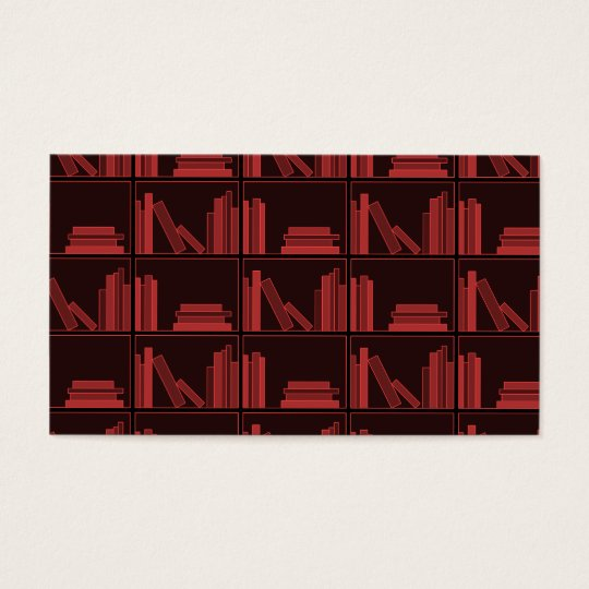 Books on Shelf. Dark Red. Business Card