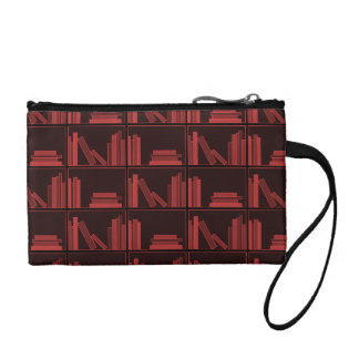 Books on Shelf. Dark Red. Change Purse