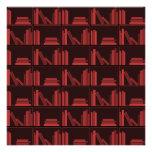 Books on Shelf. Dark Red. Custom Announcements
