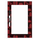 Books on Shelf. Dark Red. Dry Erase Board