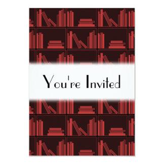 Books on Shelf. Dark Red. Personalized Invitation