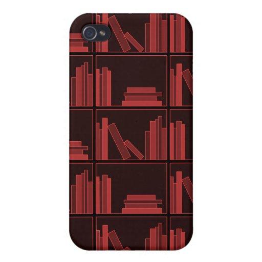 Books on Shelf. Dark Red. iPhone 4/4S Covers