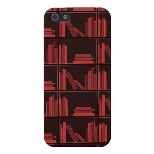 Books on Shelf. Dark Red. iPhone 5 Cover