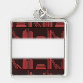 Books on Shelf. Dark Red. Keychain