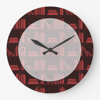 Books on Shelf. Dark Red. Large Clock