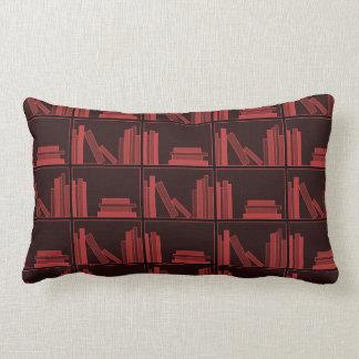 Books on Shelf. Dark Red. Lumbar Pillow
