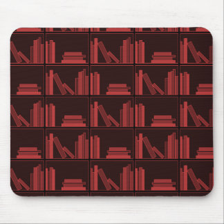 Books on Shelf. Dark Red. Mouse Pad