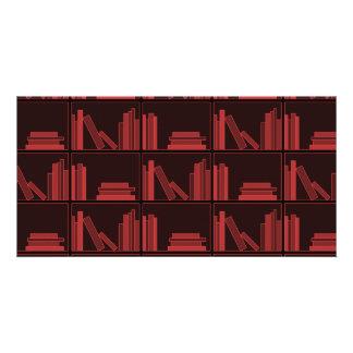 Books on Shelf. Dark Red. Personalized Photo Card