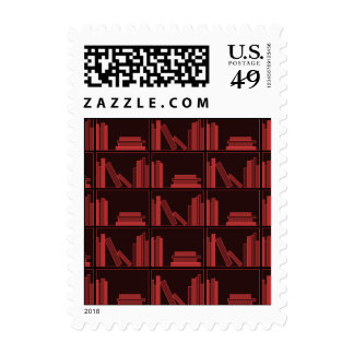 Books on Shelf. Dark Red. Postage