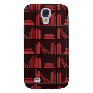 Books on Shelf. Dark Red. Samsung Galaxy S4 Case