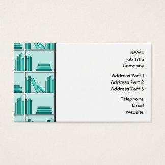 Books on Shelf. Design in Teal and Aqua. Business Card