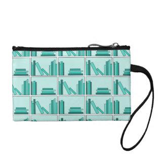 Books on Shelf. Design in Teal and Aqua. Change Purses