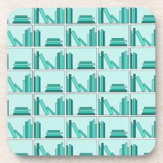 Books on Shelf. Design in Teal and Aqua. Beverage Coasters