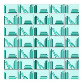 Books on Shelf. Design in Teal and Aqua. Invitation