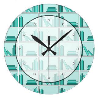 Books on Shelf. Design in Teal and Aqua. Large Clock
