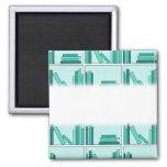 Books on Shelf. Design in Teal and Aqua. Fridge Magnets