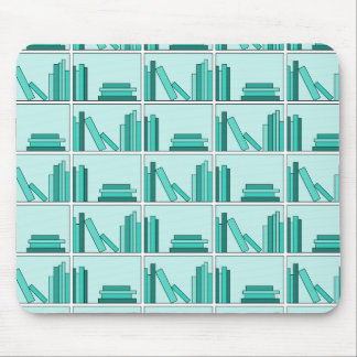 Books on Shelf. Design in Teal and Aqua. Mouse Pad