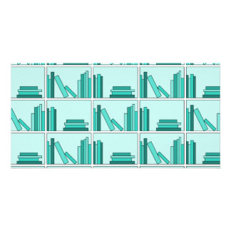Books on Shelf. Design in Teal and Aqua. Customized Photo Card