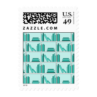 Books on Shelf. Design in Teal and Aqua. Stamps