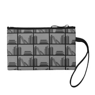 Books on Shelf. Gray and Black. Coin Purses