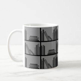 Books on Shelf. Gray and Black. Coffee Mug