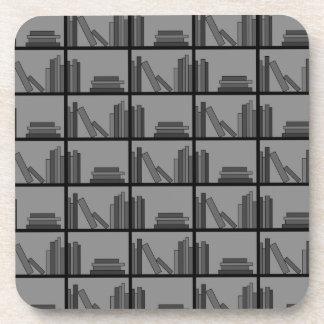 Books on Shelf. Gray and Black. Beverage Coasters