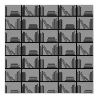 Books on Shelf. Gray and Black. Personalized Invitation