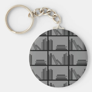 Books on Shelf. Gray and Black. Keychain