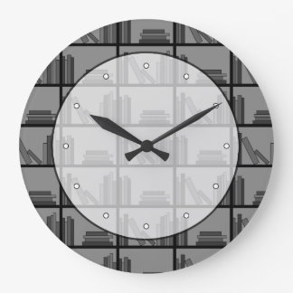 Books on Shelf. Gray and Black. Large Clock