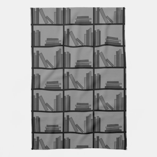 Books on Shelf. Gray and Black. Towels