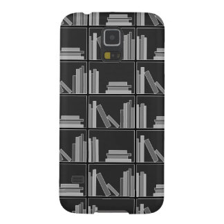 Books on Shelf. Gray, Black and White. Case For Galaxy S5