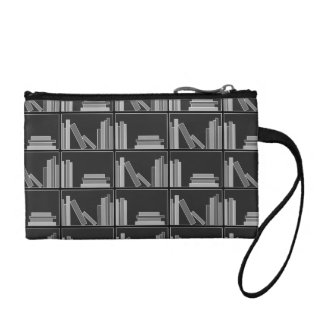 Books on Shelf. Gray, Black and White. Change Purses