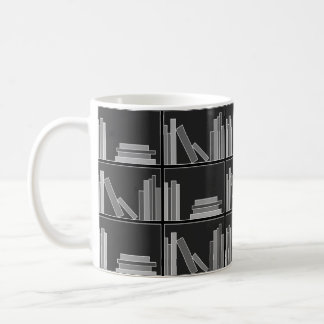 Books on Shelf. Gray, Black and White. Coffee Mug