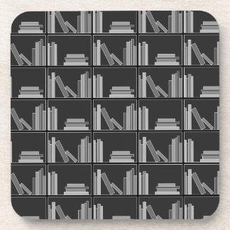 Books on Shelf. Gray, Black and White. Beverage Coasters