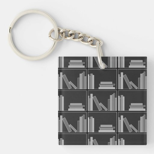 Books on Shelf. Gray, Black and White. Acrylic Key Chains