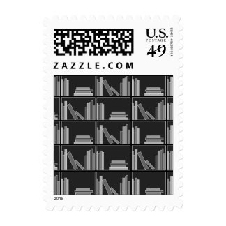 Books on Shelf. Gray, Black and White. Stamp