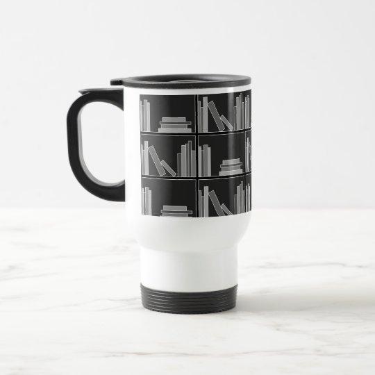 Books on Shelf. Gray, Black and White. Travel Mug