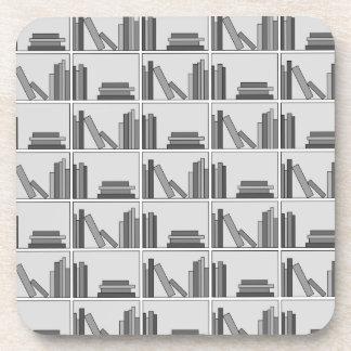 Books on Shelf. Monochrome. Drink Coaster