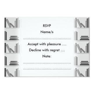 Books on Shelf. Monochrome. 3.5x5 Paper Invitation Card