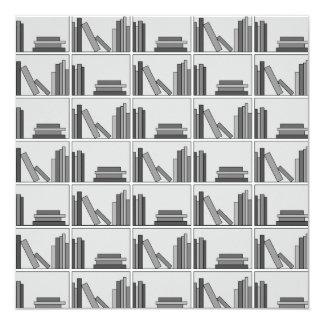 Books on Shelf. Monochrome. Invite