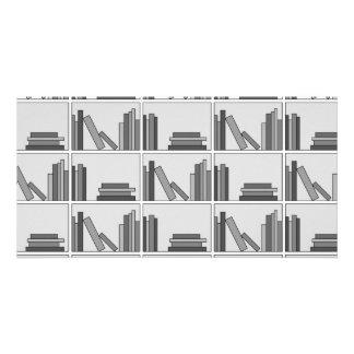 Books on Shelf. Monochrome. Personalized Photo Card