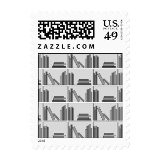 Books on Shelf. Monochrome. Stamps